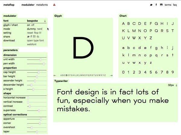 Metaflop cho phép bạn tạo Font chữ riêng và tuỳ chỉnh miễn phí