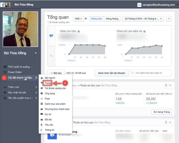 Huong dan thoat khoi Facebook for Business