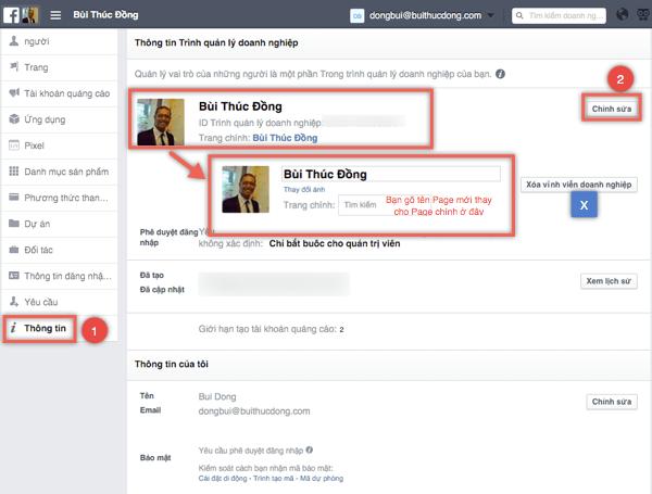 Đổi Trang chính trong trình quản lý doanh nghiệp Facebook for Business