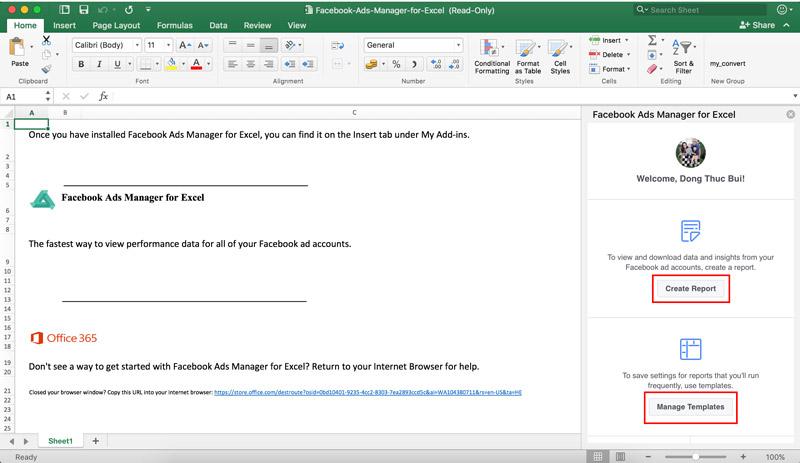 Giao diện chính Add-in Trình quản lý quảng cáo Facebook dành cho Excel